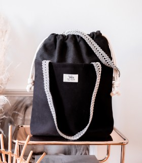 "SACK BAG ""DUOBAG"", black with beige handles"