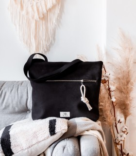 Taška shopper s vreckom na zips,  čierna