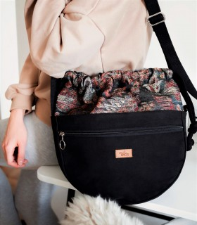 Crossbody Bag, color black with jacquard fabric