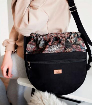 Crossbody Bag, color black with jacquard fabric