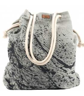 Basic me 15 fabric handbag - with effect of black paint