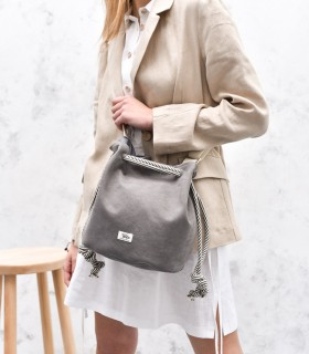 "copy of Torebka worek ""BUCKET BAG"" z eko-zamszu, kolor khaki"