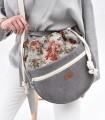 Messenger taška cez plece, šedá s kvetinovým vzorom
