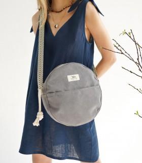 """Okrúhla taška """"MOON BAG"""" cez rameno, sivá"""