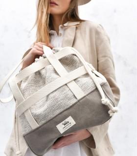 Designerska torebka z paskami, taupe z plecionką