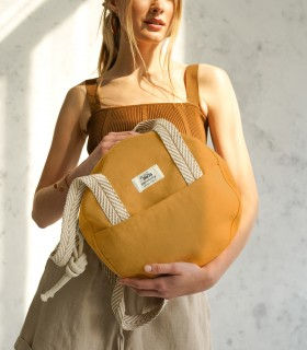 "Okrągła torebka ""MOONBAG"" na ramię, żółta"