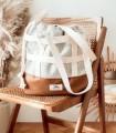 Designerska torebka z paskami, miodowa z plecionką