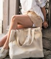City Bag, kremowa z rączkami w jodełkę