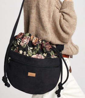 Crossbody Bag with flowers, color black