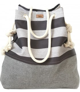 Basic me 15 fabric handbag - ash stripes