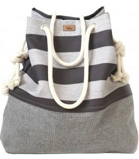 Basic me 15 fabric handbag - ash stripes