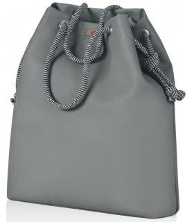 Basic me 15 fabric handbag - gray eco-leather