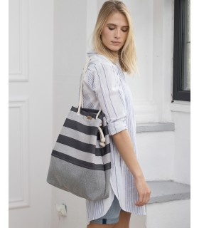 SACK BAG ME 15 FABRIC gray and black stripes