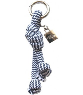 Key ring in navy blue zig-zag