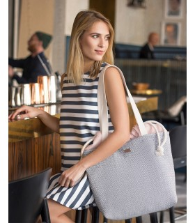 "Basic me 19 ""Duo stripes"" fabric bag gray-pink"