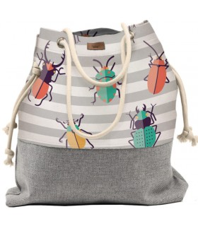 Basic me 15 fabric handbag - colorful beetles