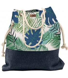 Tkaninowa torebka basic me 15 w niebieskie palmy