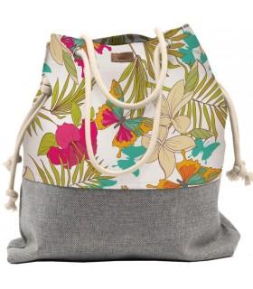 Tkaninowa torebka basic me 15 w hawajski motyw