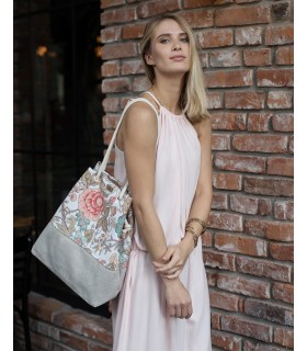 Tkaninowa torebka basic me 15 w romantyczne róże