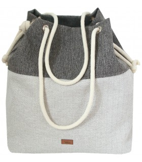 Basic me 15 fabric handbag - gray herringbone