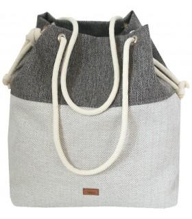 Tkaninowa torebka basic me 15 w jodełkę szarą