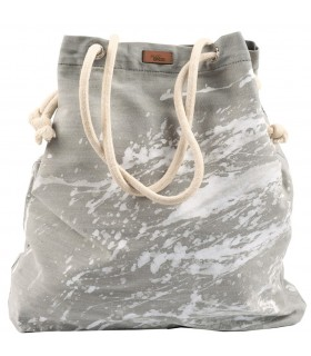Basic me 15 fabric handbag - gray with white paint effect