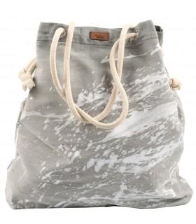 Tkaninowa torebka basic me 15 - szara z efektem białej farby