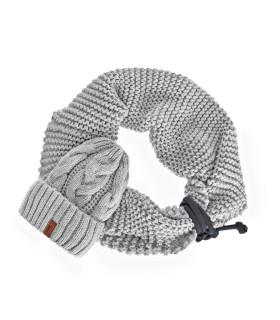 Komplet czapka i szalik jasny szary